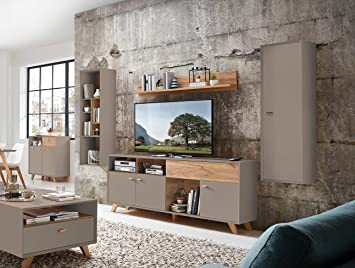 lifestyle4living Anbauwand, Wohnwand, Schrankwand, Fernsehwand ...