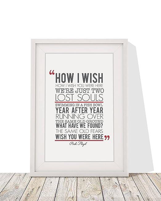 Pink Floyd wish You Were Here letras de canciones con marco A4 impresión y 12 x 10 marco de cristal con pantalla plana regalo San Valentín aniversario ...