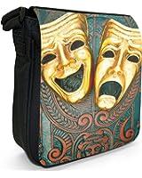 Ornate Tragedy & Comedy Theatre Masks Small Black Canvas Shoulder Bag / Handbag