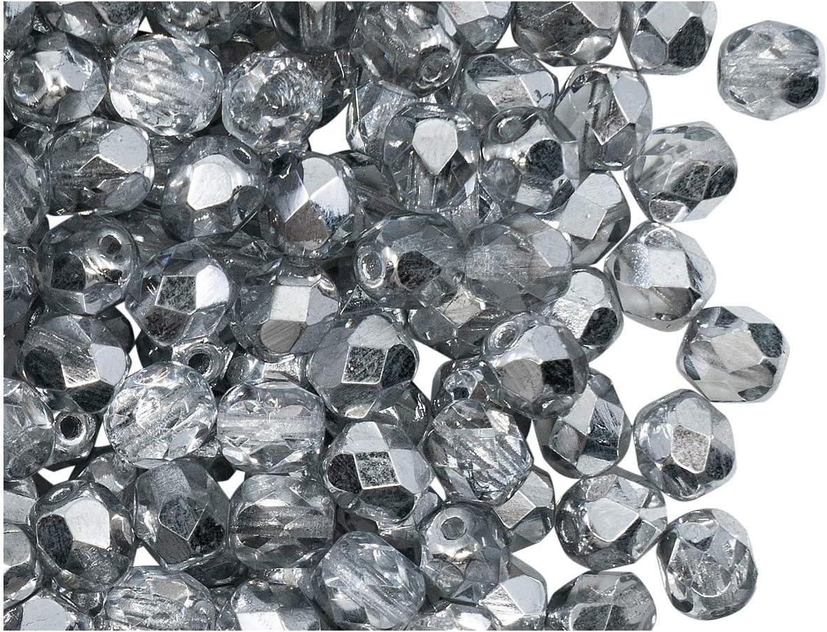 300 Preciosa Czech Glass Fire Polished Beads 6mm Crystal Vitrail Light 2-sided