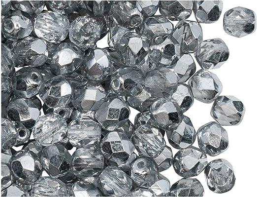 Jet Black Fire-Polished 100 piezas Cuentas de vidrio facetado redondas checo 4 mm