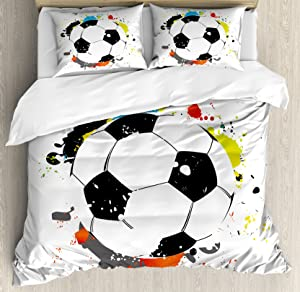 Lunarable Sports Duvet Cover Set, Abstract Grunge Soccer Ball in Rainbow Colors Game Hobby Activity Splash, Decorative 3 Piece Bedding Set with 2 Pillow Shams, Queen Size, Black White