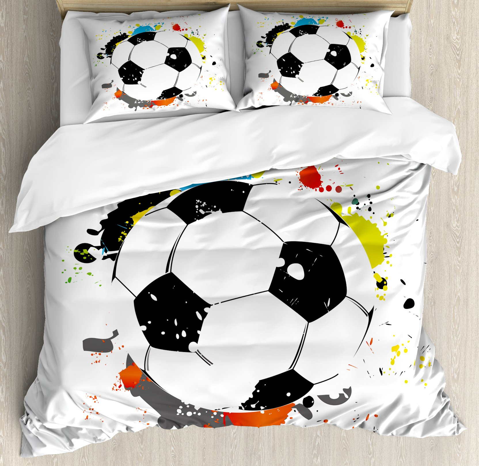 Boy's Room King Size Duvet Cover Set by Lunarable, Abstract Grunge Soccer Ball in Rainbow Colors Game Hobby Activity, Decorative 3 Piece Bedding Set with 2 Pillow Shams, Black White Multicolor