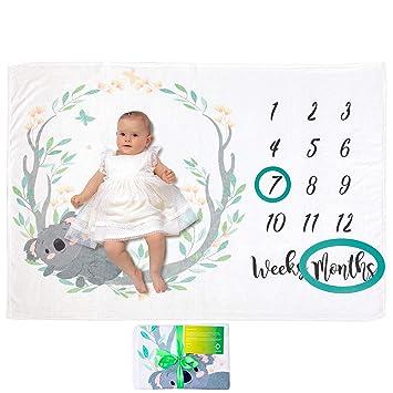 Babys Meilensteine in Wachstum /& Alter Verfolgen Weich Dick Gro/ß Baby Monats Decke f/ür Jungen und M/ädchen Unisex Babydecke mit Monat als Geschenk zur Geburt Baby Meilenstein Decke Fotodecke