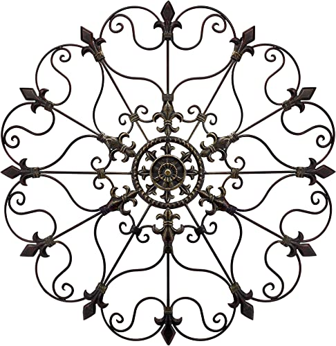 Metal Solid Mounted Medallion Hand-painted Wall Decor 30″x30″