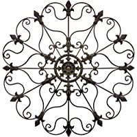 YL Crafts - Metal Mounted Medallion Hand-Painted Wall Decor 80cm x 80cm, Large Metal Home Wall Art for Indoor and…