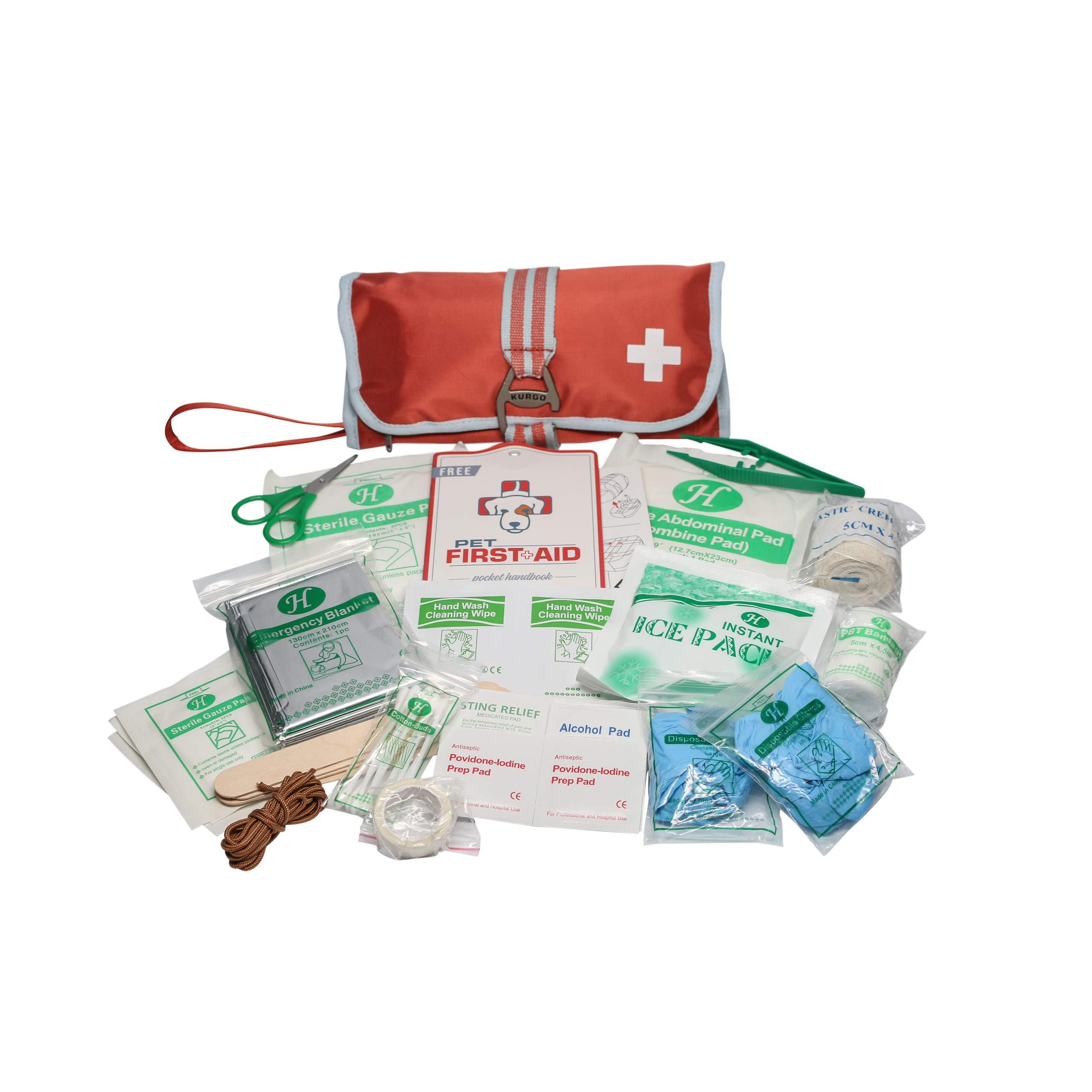 Kurgo Portable Dog First Aid Kit, Pet Medical Kit (50 Piece), One Size, Paprika by Kurgo