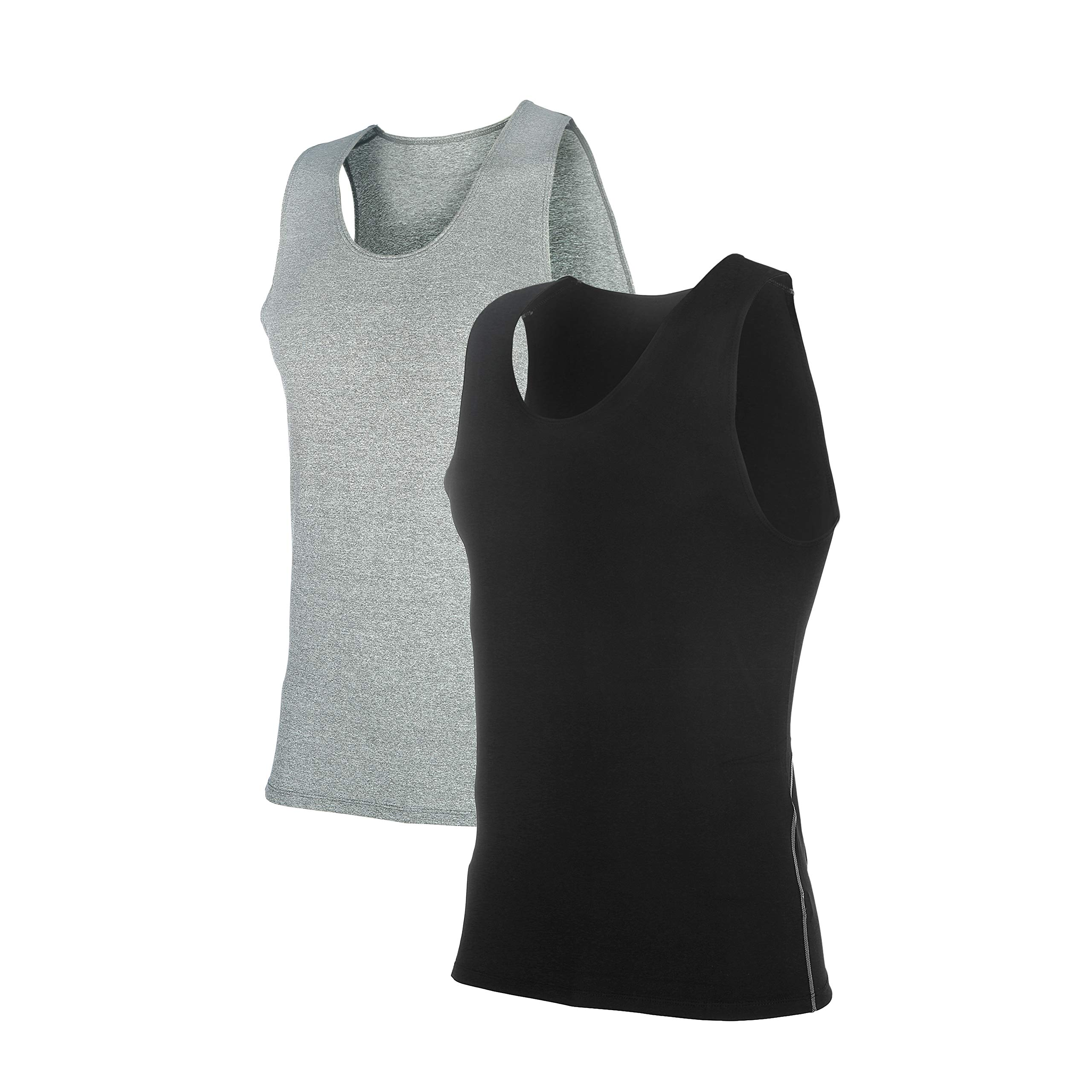Siboya Men's 2 Pack Sleeveless Muscle Tank Top Athletic Cool Dry Compression Base Layer (Black1,Gray1, L)
