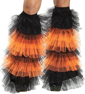 b6b982bf3f10c Amazon.com: DISC0UNTST0RE Boot Covers Tulle Ruffle Black & Orange ...