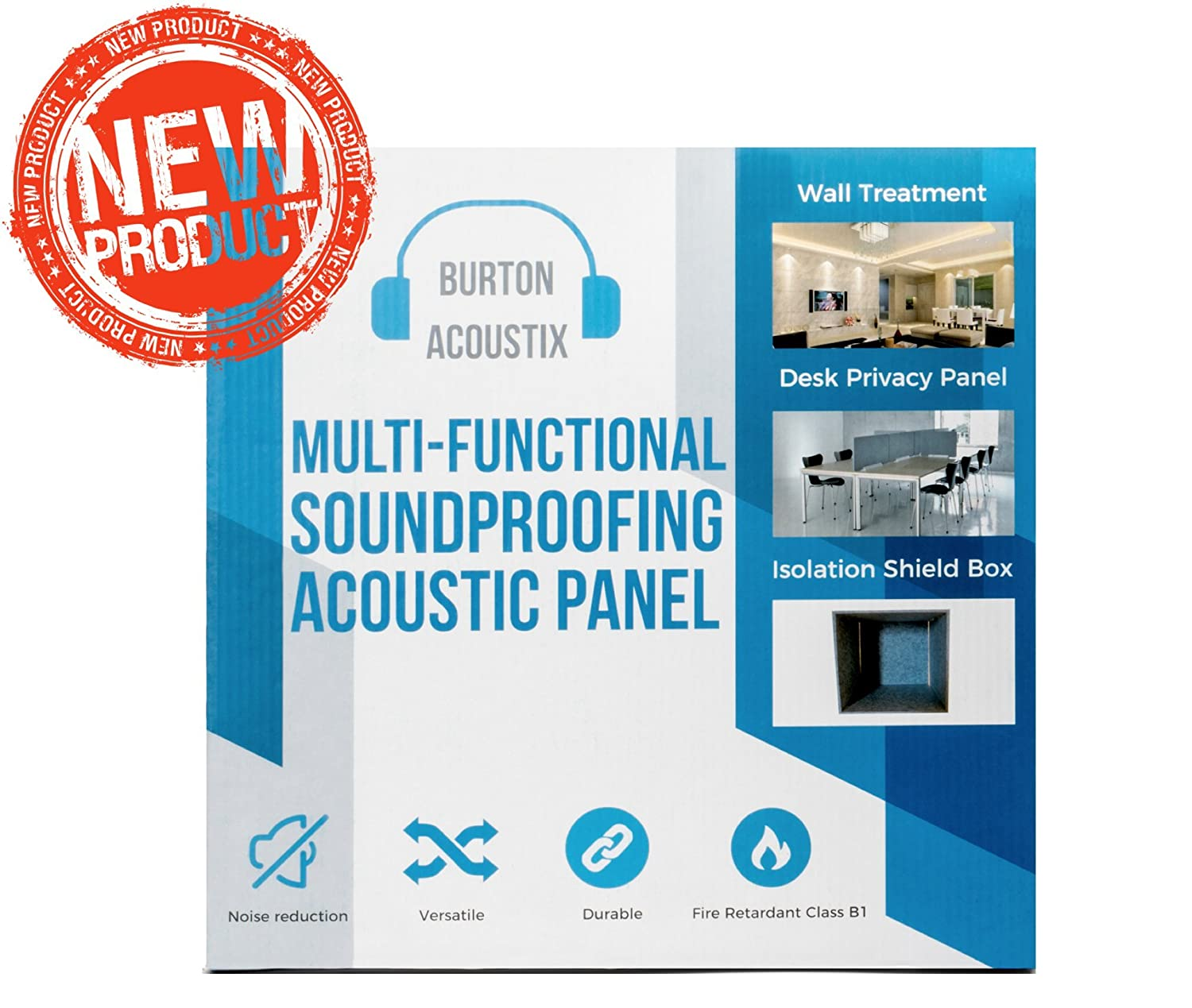 Superdense Soundproofing Acoustic Panels | Designed by Sound Engineers | Great for Acoustic Treatment in Home Theatre  Studio and Gaming Room | Fireproof Easy to Mount | Better than Studio Foam Wedge Burton Creations BA-001