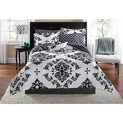 Amazon.com: Black & White Damask Twin/Twin XL Comforter & Sheet