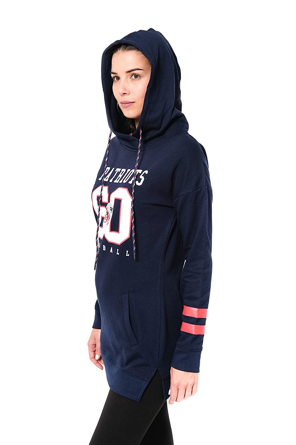 NFL New England Patriots Ultra Game Womens L//S FLACH TUNIC P//O W//HOOD Medium Navy