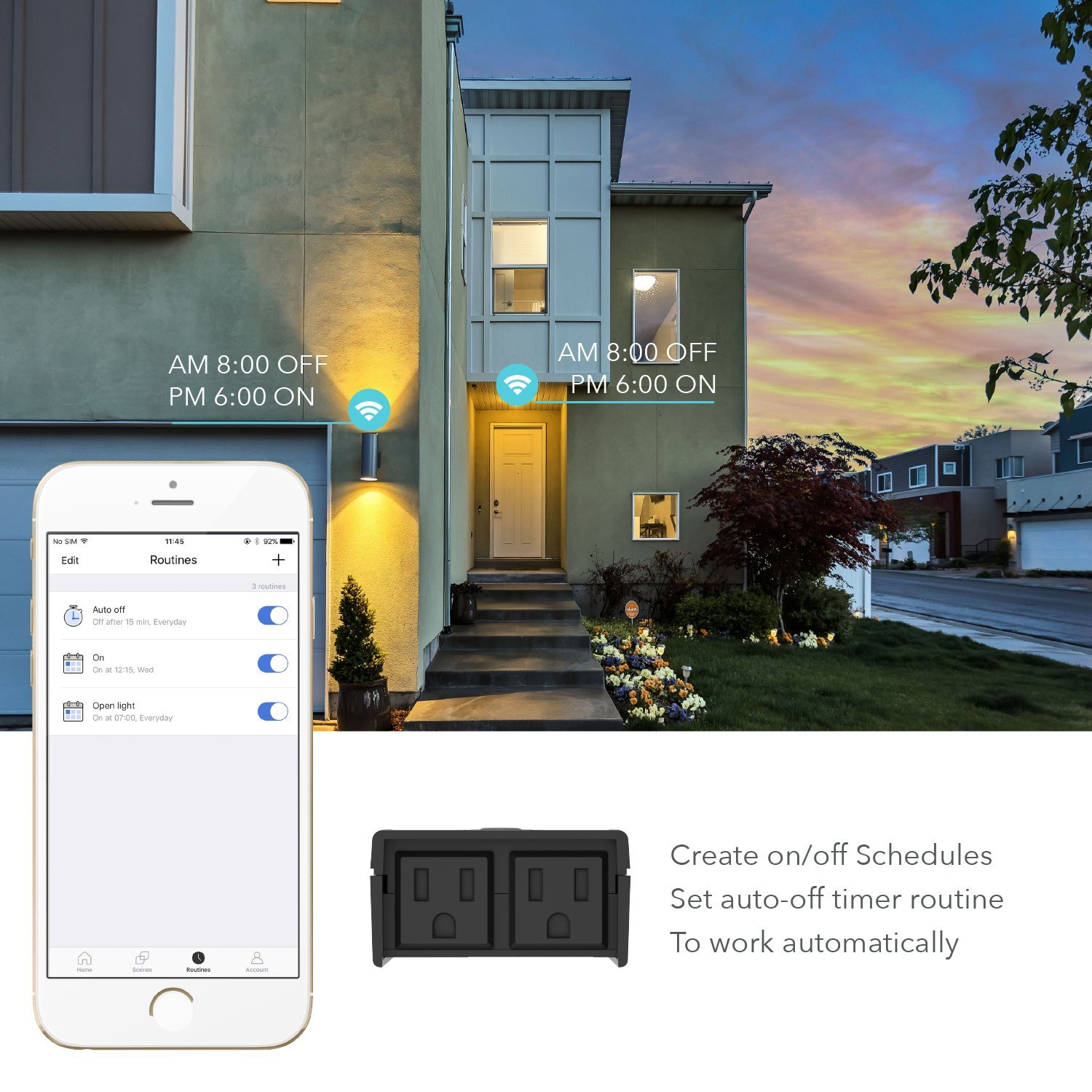 ETL Certified FCC Timer Remote Control Google Assistant and IFTTT Works with  Alexa meross MSS620 WiFi Smart Outdoor//Indoor Plug 2 Grounded Plugin Heavy Duty Outlet Waterproof