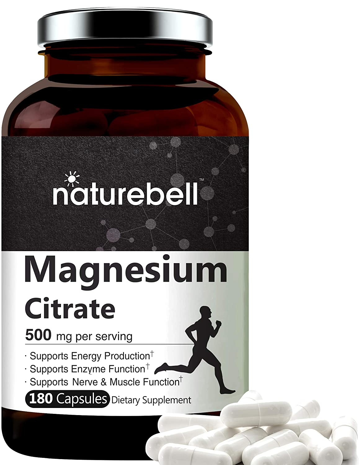 NatureBell Magnesium Citrate 500mg,180 Capsules, Powerfully Supports Energy, Metabolism, Muscles, Heart and Bone Health. No GMOs and Made in USA