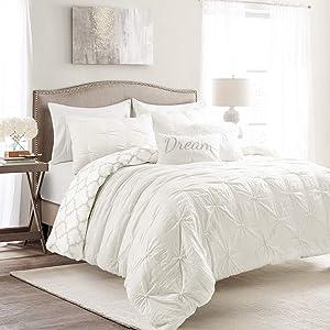 Lush Decor Ravello Pintuck Caroline Geo 7 Piece Comforter Set, Full/Queen, White