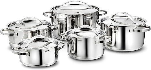 KOPF Juego de ollas Janina de acero inoxidable utensilios de cocina Juego de ollas de cocina de inducci/ón con escala interior y juego de platos con borde de vertido 19 piezas