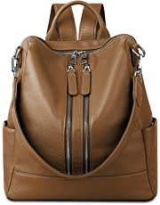 YALUXE Women's Convertible Real Leather Backpack Versatile Shoulder Bag (Upgraded 2.0) brown