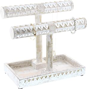 "Deco 79 30965 Mango Wood Double T-Bar Jewelry Holder, 12"" x 11"", White/Silver"