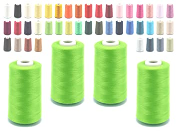 Schnoschi – Bobina de hilo de coser para máquina remalladora, 40/2 (120), 4570 metros, muchos colores, verde, 4 unidades: Amazon.es: Hogar