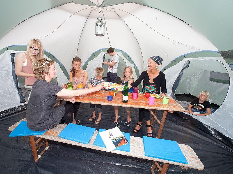 skandika Gruppen-Oder Familienzelt Korsika 10 (Mod. 2012) Tienda de campaña, Unisex, Verde/Beige, 760 x 720 cm
