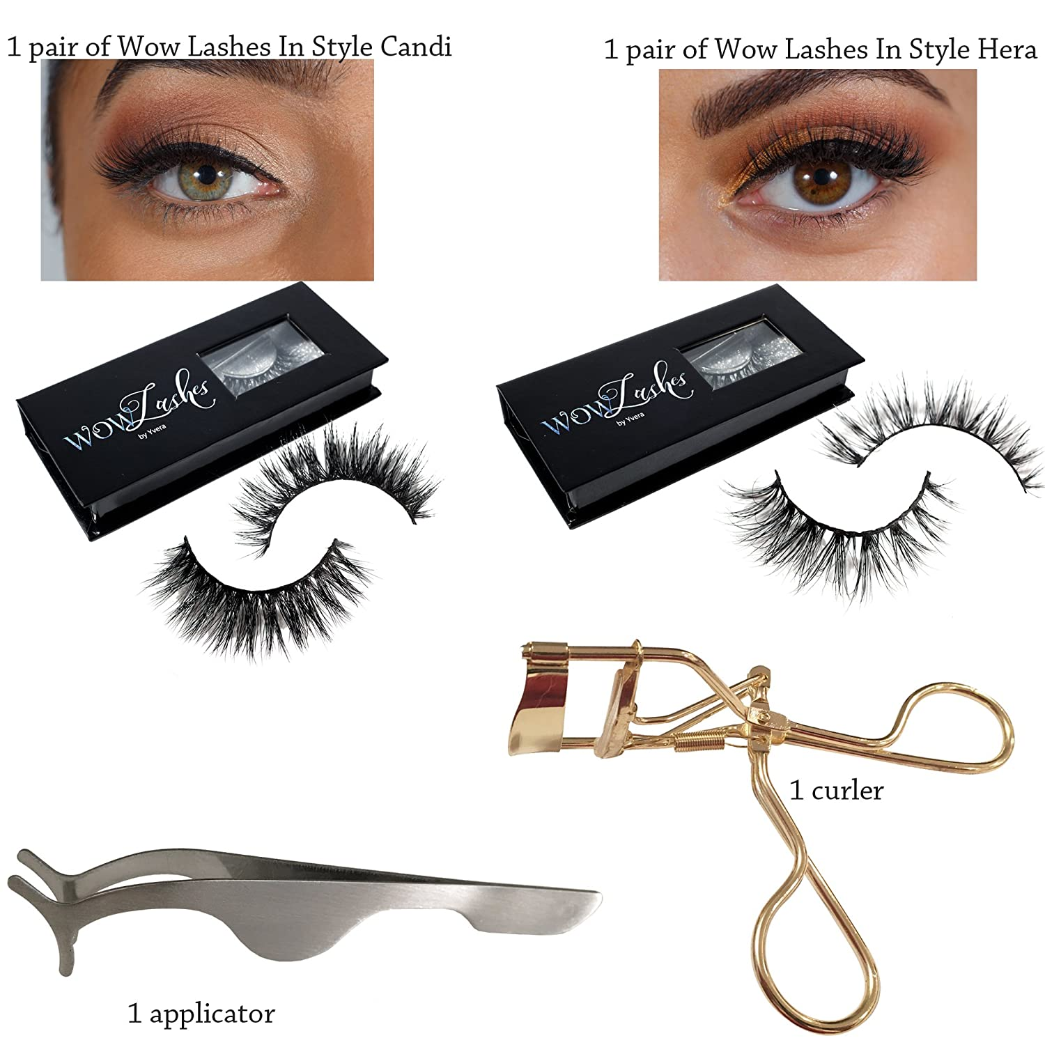 77a3ff68b51 Amazon.com : 2 Pairs Long Wispy Lashes Thick Dramatic Real 3D False Mink  Eyelashes Reusable Cruelty Free 2 Different Styles Bundle Set + Eyelash  Extension ...