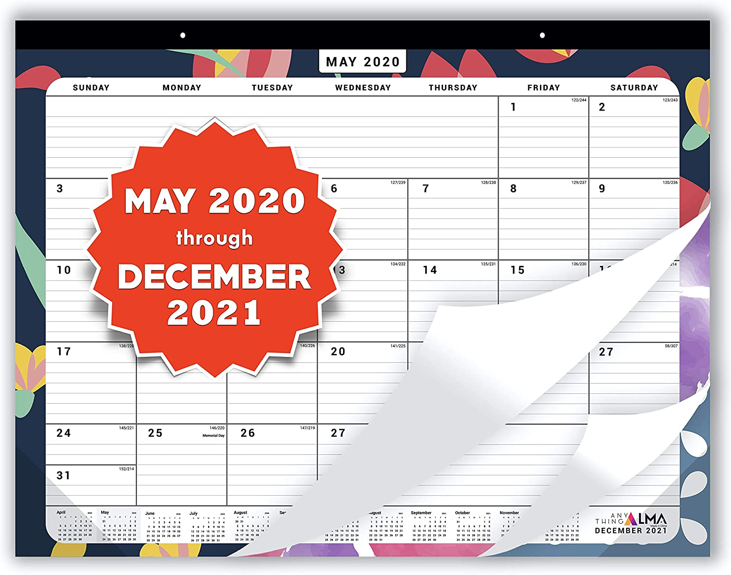 Anything Alma 2020-2021 Desk Calendar: 22 x 17 inches   May 2020 to December 2021   20 Months   Desk Pad or Wall Calendar