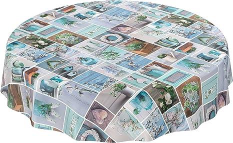Anro - Mantel de hule lavable, 95% PVC, 5% poliéster., Diseño rústico, jardín, verde menta, Rund 100cm Schnittkante: Amazon.es: Hogar