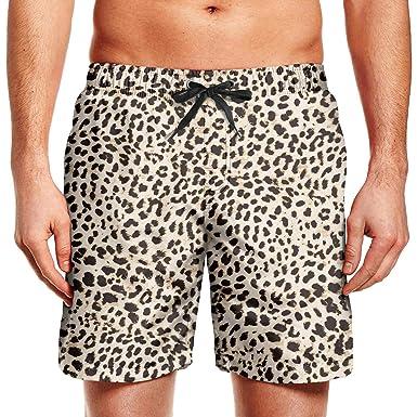 3c435b43a68f3 XULANG Man Leopard Cheetah Print Black Cream Color Beach Shorts Swim Trunks  Surfing Activewear Quick Dry