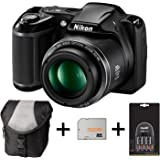 Nikon Coolpix L340 - Black + Case + 32GB Memory Card + 4xAA Battery and Charger (20.2MP, 28x Optical Zoom) 3.0 inch LCD