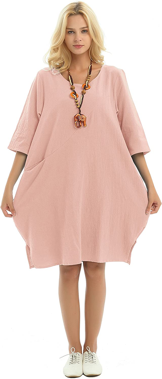 Anysize Three Quarter Sleeve Side Slit Pockets Soft Linen Cotton Spring Summer Fall Dress Plus Size Dress F155A