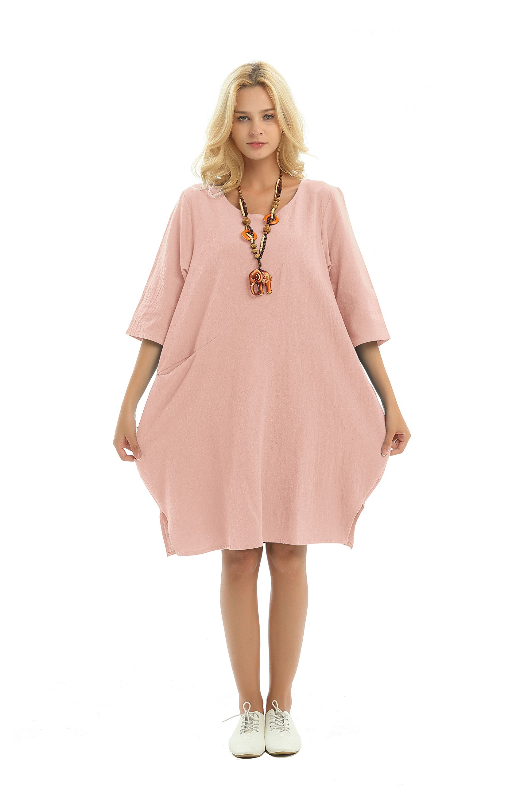 Anysize Side Slit Pockets Soft Linen Cotton Spring Summer Dress Plus Size  Dress F155A Skin Pink