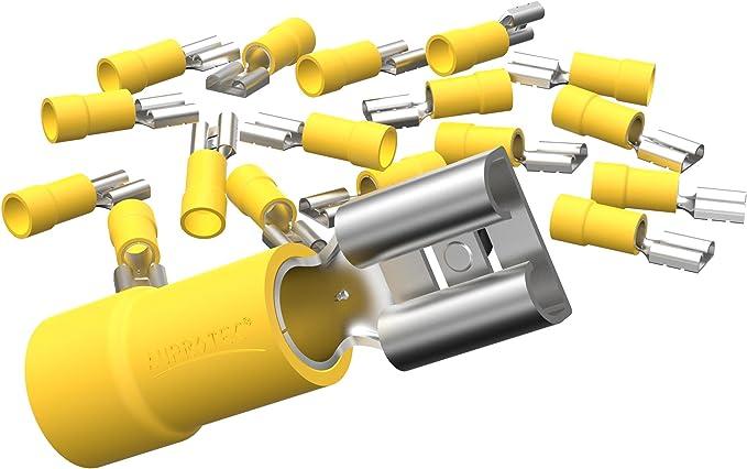 Auprotec 50x Flachsteckhülsen 4 0 6 0 Mm Gelb Elektronik
