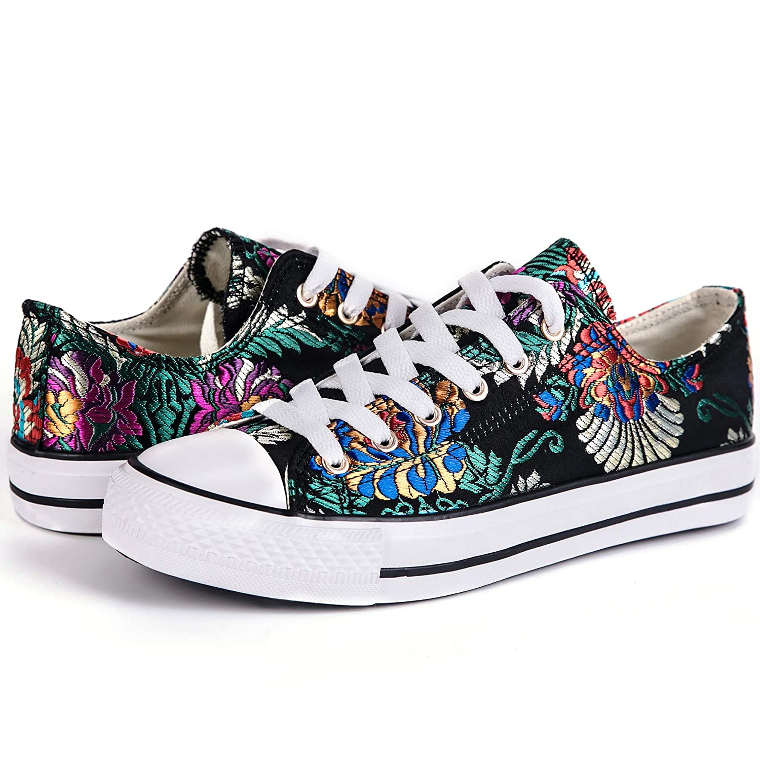 Lantina Womens Low Top Fashion Sneakers Canvas Chucks Shoes Lace Up Comfy for Ladies Girls Tennis Athletic Walking Dress Cute Floral Print and Casual with ...