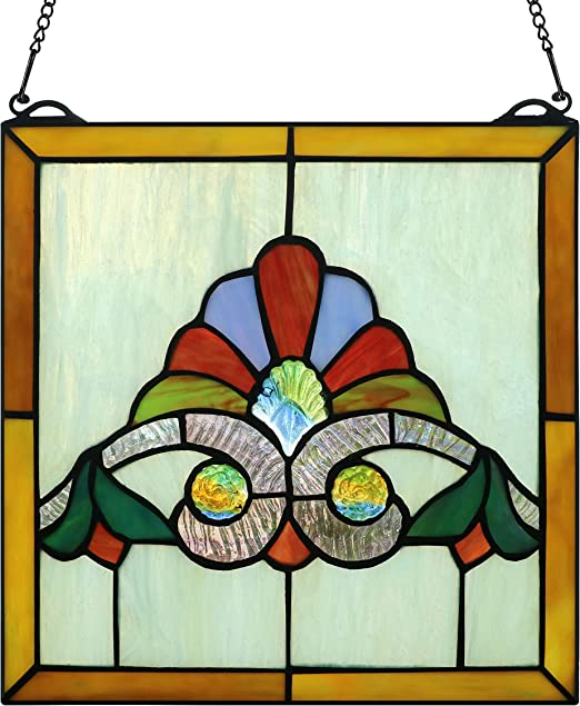 Yolic Dragonfly Stained Glass Window Panels Trasom Window Hanging Panel 21.5 Inch by 6.8 Inch