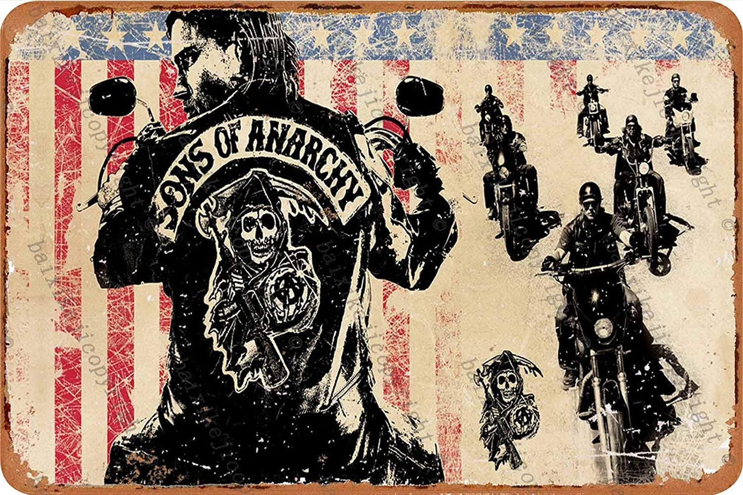 Sons of Anarchy Let Freedoom Ride Tin Retro Sign Vintage Poster Plaque Wall Decor for Bar Cafe Garden Bedroom Office Hotel 20x30 cm