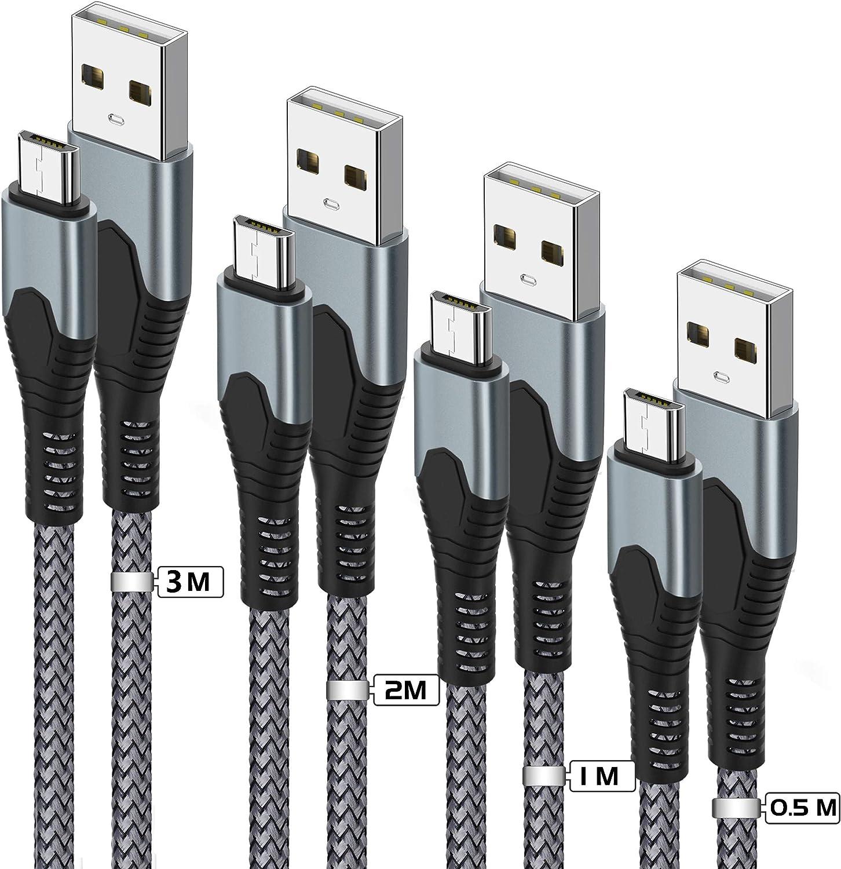 Tujun Micro USB Kabel [4 Stück]  Nylon Micro USB Ladekabel