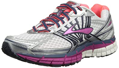 Brooks Women's Adrenaline GTS 14 Running Shoes, Color: White/Fuschia/ Midnight,