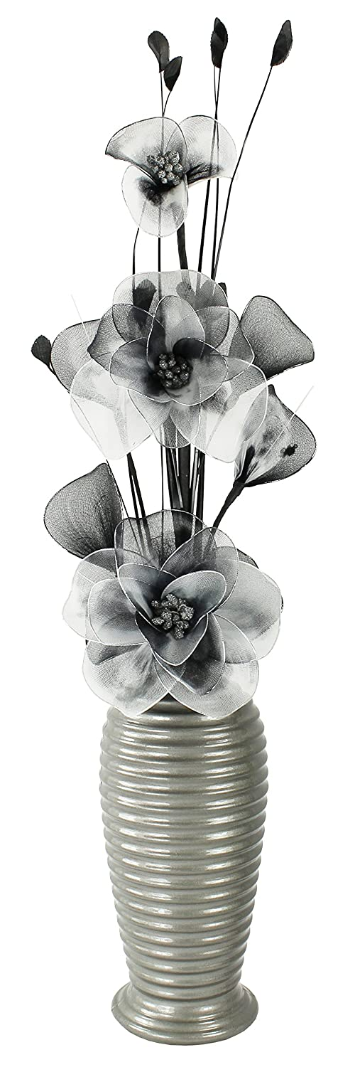 Dark Grey Vase with Black and White Artificial Flowers, Ornaments for Living Room, Window Sill, Home Accessories, 60cm Flourish 791957