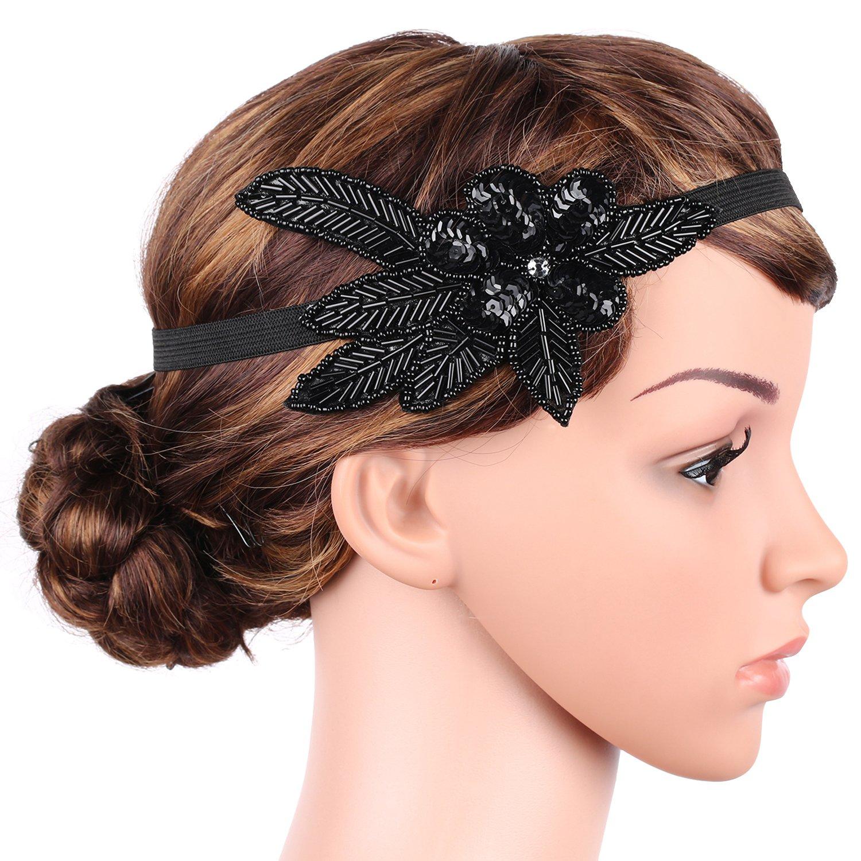 BABEYOND 1920s Stirnband Feder Flapper Stirnband 20er Jahre Stil Haarband Gatsby Accessoires Damen Retro Stirnband