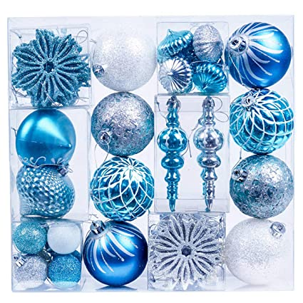valery madelyn 70ct winter wishes shatterproof christmas ball ornaments decoration blue silver with string pre - Blue And Silver Christmas Ornaments