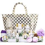 Spa Luxetique Spa Gift Basket, Gift Set for Women - 15pcs Lavender Spa Baskets, Relaxing Spa Kit Includes Bubble Bath, Bath B