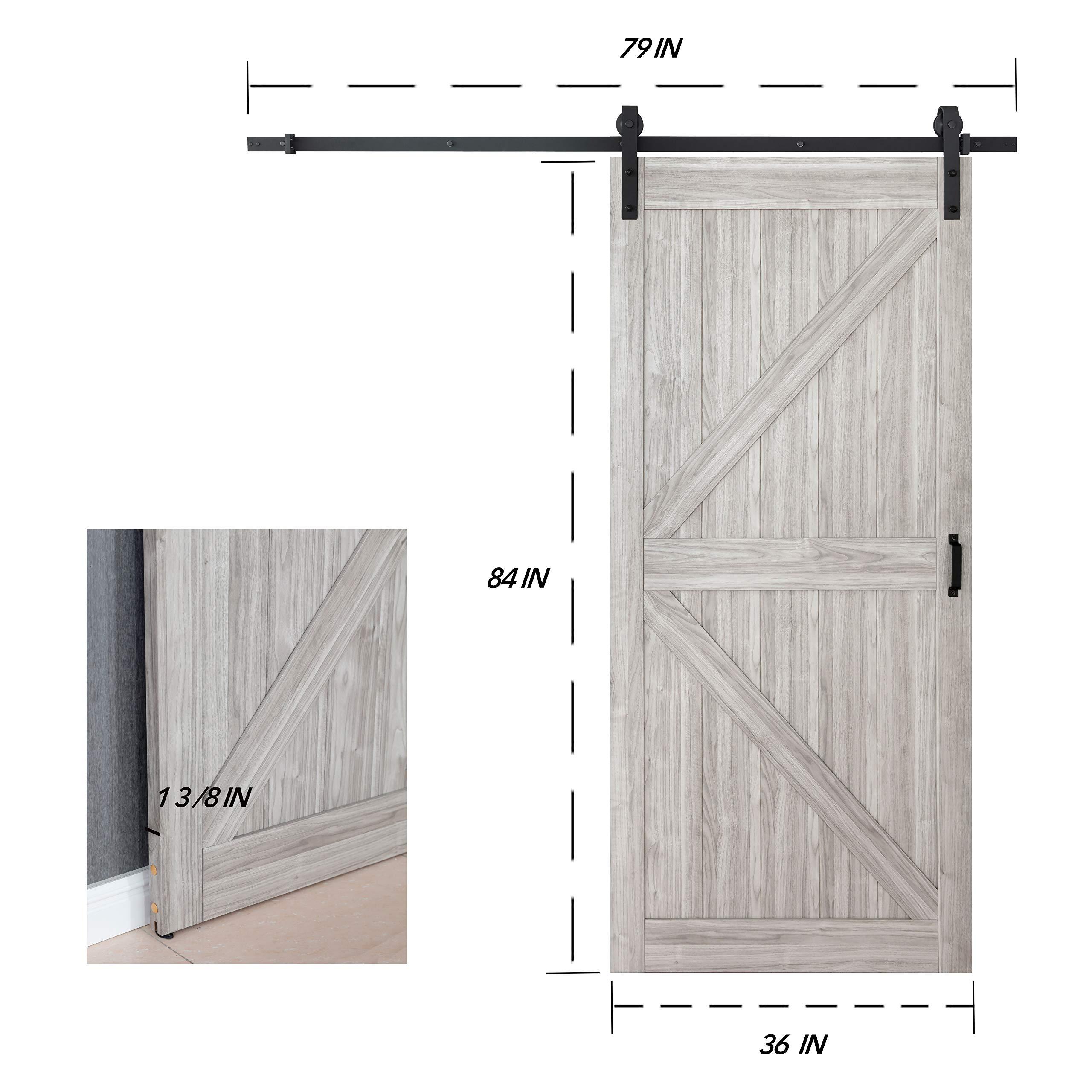 TENONER 36in x 84in Grey K-Frame Sliding Barn Door, 6.6ft Barn Door Hardware Kit & Handle Included by TENONER (Image #5)