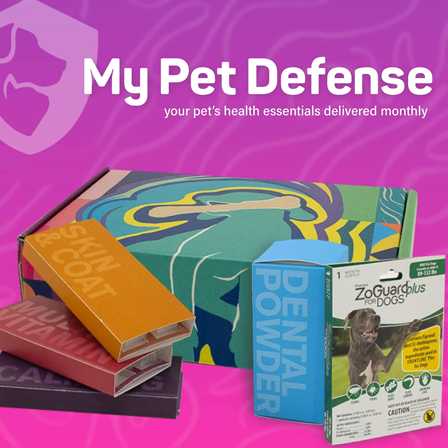 My Pet Defense Monthly Subscription Box - Dog Dental Care, Flea and Tick Prevention for Dogs, Grain Free Dog Supplements: Small (5-22 lb)