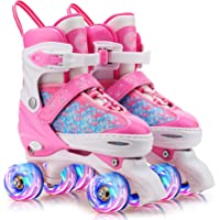 CVFDGETS Roller Skates Kids Girls,Shoes With Single//Double Wheels Retractable Skateboarding Rollerblades Outdoor For Kids Wheels Shoes,Grey1-31