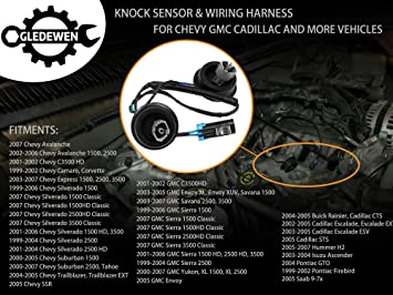 amazon com: dual knock sensors with wiring harness kit | for chevy suburban  silverado avalanche tahoe, gmc sierra yukon, cadillac hummer & more gm  vehicles