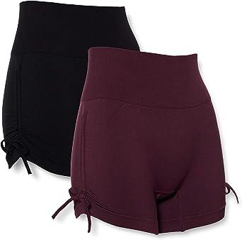 Marca Amazon - AURIQUE Shorts de Yoga Mujer, Pack de 2: Amazon.es ...