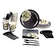 Disposable Dinnerware Set - Serves 24 - Halloween Party Supplies with Moon and Bats Design - Includes Plastic Knives, Spoons, Forks, Paper Plates, Napkins, Cups