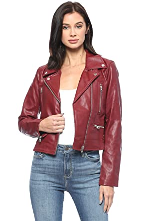 648eed4ae0cd Urban Look Women's Faux Leather Moto Biker Jacket (Small, Style A Dark Red)