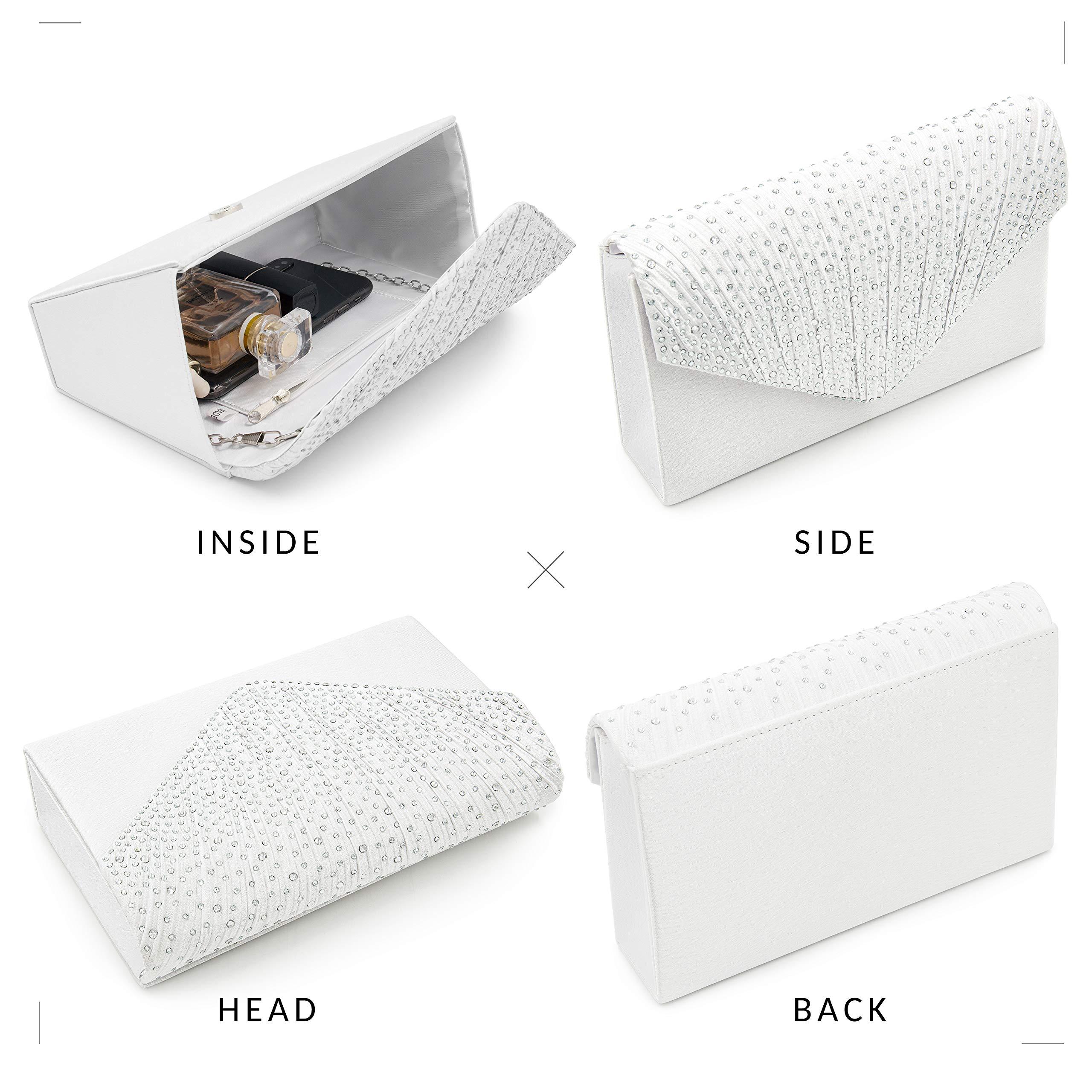 Milisente Clutch Purses for Women evening Glitter Wedding Purse Crystal Envelope Clutches Shoulder Bags (White) by Milisente (Image #5)