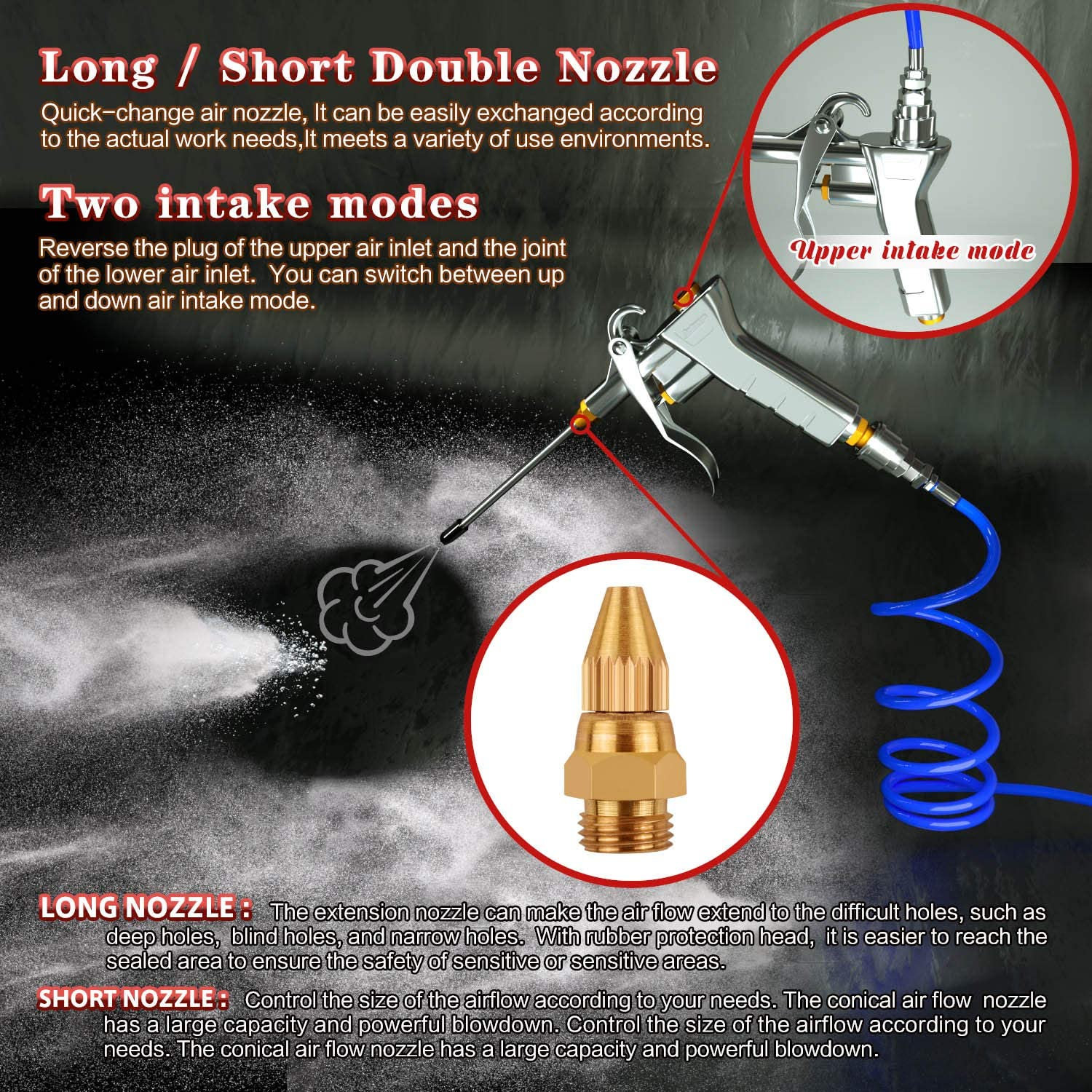 Details about  /Air Blow Gun Astarye Nozzle Duster Cleaner Air Compressor Quick Connect for Car
